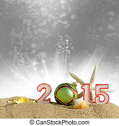 New year 2015 sign on a beach sand