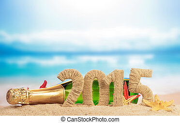 New year 2015 sign with champagne on sand