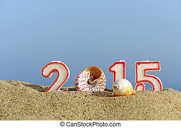New year 2015 sign with seashells on a beach sand