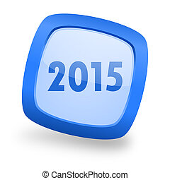new year 2015 square glossy blue web design icon