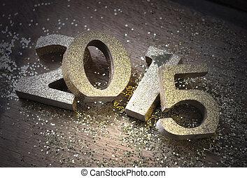 new year 2015 - light on 2015 golden figures put pele mele...