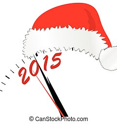 new year 2015 with red hat color vector