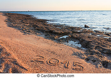 New Year 2015 written on the beach