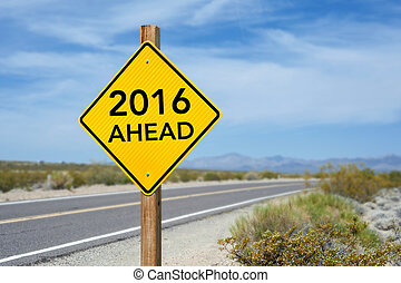 New Year 2016 Ahead road sign with blue cloudy sky and blur...