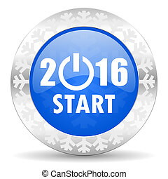 new year 2016 blue icon, christmas button, new years symbol...