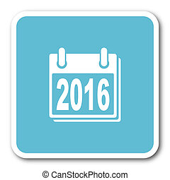 new year 2016 blue square internet flat design icon