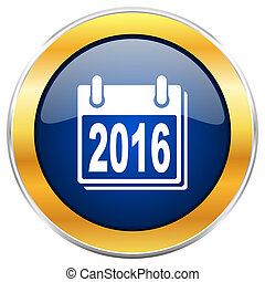 New year 2016 blue web icon with golden chrome metallic border isolated on white background for web and mobile apps designers.