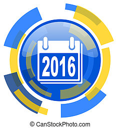 new year 2016 blue yellow glossy web icon