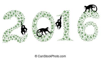 new year 2016, cannabis, monkey