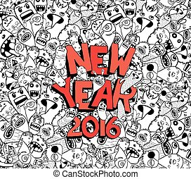 new year 2016 doodle hipster