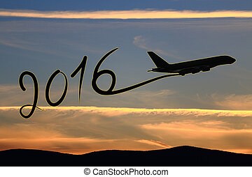 New year 2016 drawing by airplane on the air at sunset