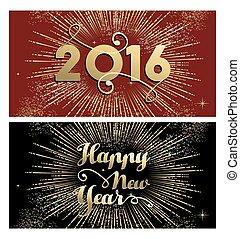 New Year 2016 gold firework banner card set