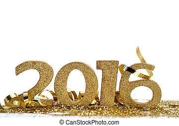 new year 2016 - golden figures 2016 on glitter and white ...