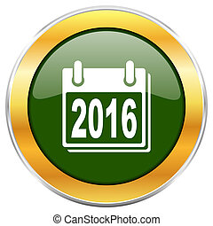 New year 2016 green glossy round icon with golden chrome metallic border isolated on white background for web and mobile apps designers.