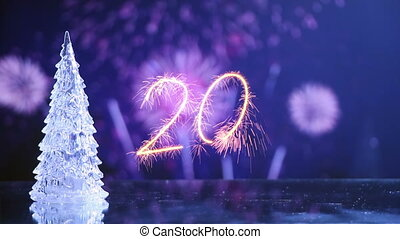 new year 2016 greetings and fireworks loop