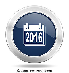 new year 2016 icon, dark blue round metallic internet button, web and mobile app illustration