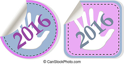 new year 2016 icon set. new years symbol original modern design for web and mobile app on white background