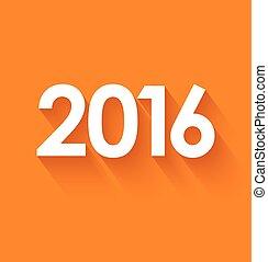 New year 2016 in flat style on orange background