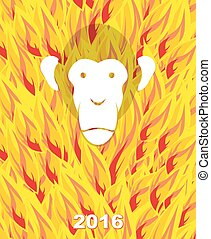 New year 2016. Monkey on flame background. Year of  Fire Monkey on Chinese calendar. Vector illustration.