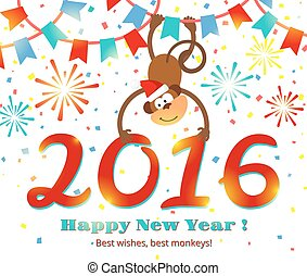 New Year 2016 monkey vector card