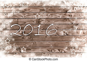 new year 2016 on vintage plank