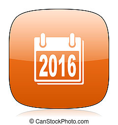 new year 2016 orange square web design glossy icon