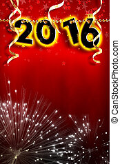 New Year 2016 pearls hanging on red background strip vertical