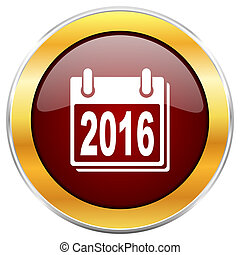 New year 2016 red web icon with golden border isolated on white background. Round glossy button.