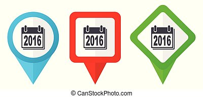 New year 2016 sign red, blue and green vector pointers icons. Set of colorful location markers isolated on white background easy to edit