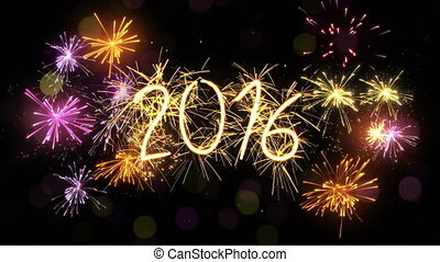 new year 2016 sparkler sign loop