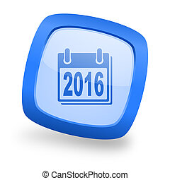 new year 2016 square glossy blue web design icon