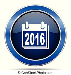 New year 2016 vector icon. Modern design blue silver metallic glossy web and mobile applications button in eps 10