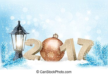 New Year 2017 background with winter nature and a lamp....