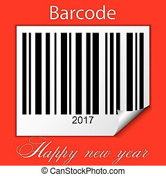 New year 2017 barcode on red background
