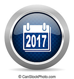 new year 2017 blue circle glossy web icon on white background, round button for internet and mobile app