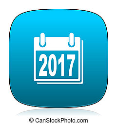 new year 2017 blue icon