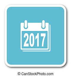 new year 2017 blue square internet flat design icon