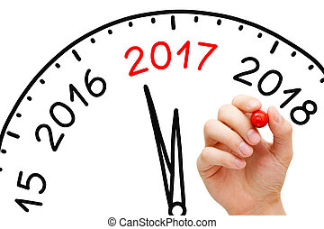 New Year 2017 Clock Concept