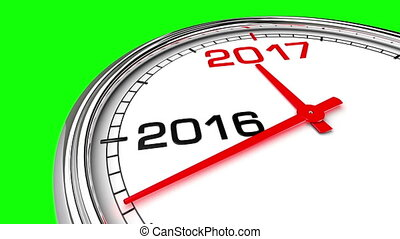 New Year 2017 Clock (Green Screen)