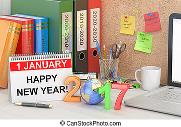 New Year 2017 concept, 3D rendering