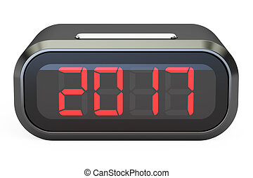 New Year 2017 concept on the digital clock face, 3D rendering