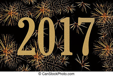 new year 2017 - golden figures 2017 on fireworks background