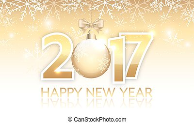 New Year 2017 golden vector banner with hanging bauble.