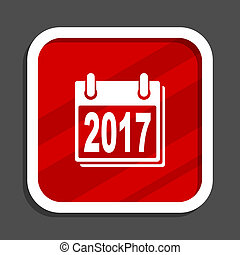 New year 2017 icon. Flat design square internet banner.