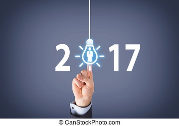 New Year 2017 Idea Concept on Visual Screen