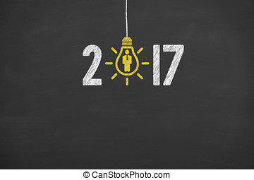 New Year 2017 Idea Concepts on Blackboard Background