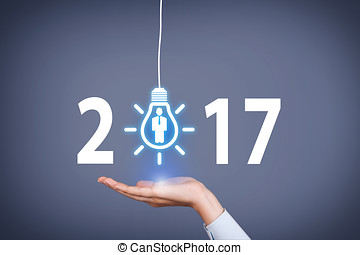 New Year 2017 Idea Concepts on Visual Screen