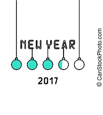 New Year 2017 inscription greeting cards in style pixel art...