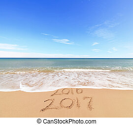 New Year 2017 is coming concept - inscription 2017 and 2016...