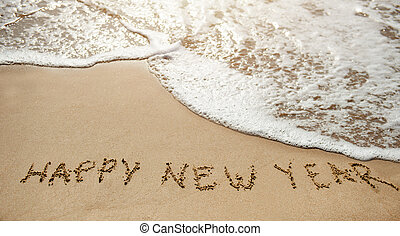 New year 2017 is coming - happy new year on the sand beach